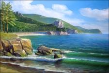 песчаная бухта на озере Байкал